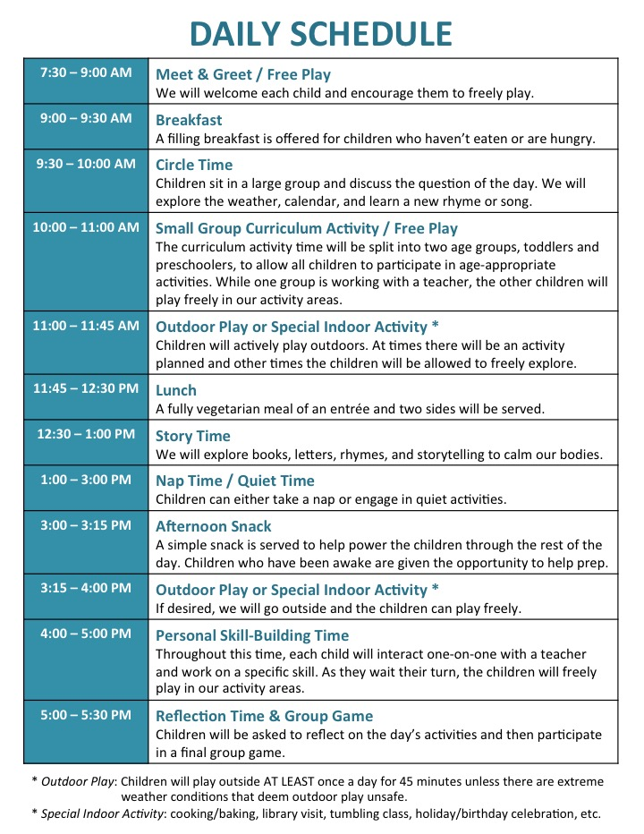 daily schedule for preschool the wholesome playhouse home daycare and preschool 992